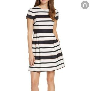 NWT 1901 Stripe Short Sleeve Fit & Flare Dress